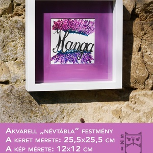 Hanga akvarell festmény, Akvarell, Festmény, Művészet, Festészet, Akvarell névtábla festmény. Egyedi névvel és mintával is rendelhető. Tökéletes névnapi ajándék!..., Meska