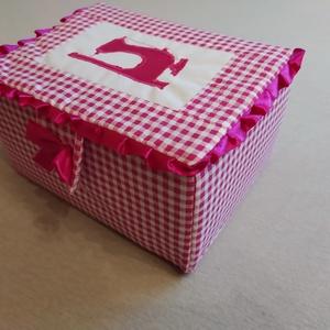 varrós doboz, Otthon & Lakás, Tárolás & Rendszerezés, Doboz, Patchwork, foltvarrás, Különleges gondossággal és nagy szeretettel keszitettem ezt a varrós dobozt. Kartonnal merevített, v..., Meska