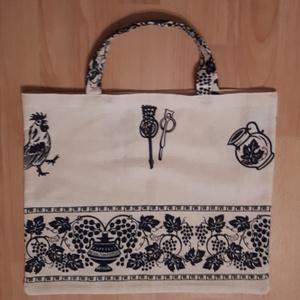 Bevásárló táska,szatyor,NoWaste, NoWaste, Bevásárló zsákok, zacskók , Textilek, Varrás, Krémszínű alapon sötétkék mintás anyagból készült bevásárló táska.\nMérete:ma.36 cm\n              sz...., Meska