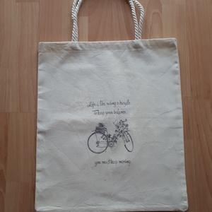 Bevásárló táska,szatyor molino vászonból transzfer képpel, Bevásárlás & Shopper táska, Táska & Tok, Varrás, Decoupage, transzfer és szalvétatechnika, Molino vászonból készítettem a bevásárlótáskát.Transzfer tecnikával nyomtattam rá a képet.\nMérete: 3..., Meska