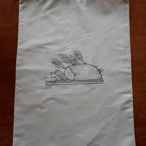 Kenyeres zsák transzfer képpel, molinó vaszonból, NoWaste, Textilek, Textil tároló, Otthon & lakás, Konyhafelszerelés, Kenyértartó, Varrás, Decoupage, transzfer és szalvétatechnika, Molinó vászonból készítettem a kenyeres zsákot.Transzfer technikával nyomtattam rá a képet.\nEgyszínű..., Meska