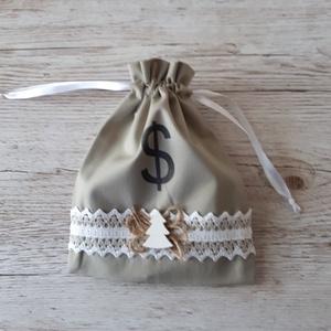 Pénzeszsák, karácsonyi pénzátadó zsákocska szürkésdrapp színben vintage stilusban, Otthon & Lakás, Karácsony & Mikulás, Karácsonyi csomagolás, Decoupage, transzfer és szalvétatechnika, Varrás, Először esküvőre készítettem ilyen kis zsákot,de egy kicsit újragondolva karácsonyra is tökéletes. T..., Meska