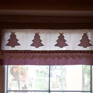 Vitrázs karácsonyi,konyhai függöny,natur alapon bordó aprómintás applikált karácsonyfákkal, Függöny, Lakástextil, Otthon & Lakás, Varrás, Legyen a konyhánkban is karácsonyi hangulat.          Natur és bordó aprómintás vászonanyagból készí..., Meska
