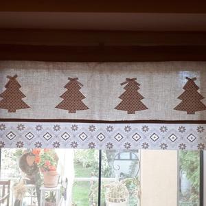 Vitrázs karácsonyi,konyhai függöny,natur alapon fehér bézs pöttyös applikált karácsonyfákkal, Függöny, Lakástextil, Otthon & Lakás, Varrás, Legyen a konyhánkban is karácsonyi hangulat.          Natur és fehér ,bézs pöttyös vászonanyagból ké..., Meska