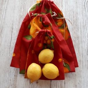 NoWaste, piros alapon narancsos mintával, bevásárlózsák 3 db-os szett, NoWaste, Bevásárló zsákok, zacskók , Textilek, Textil tároló, Varrás, Narancsos vászonanyagból készültek a bevásárlózsákok,amelyeket akár otthoni tárolásra is lehet haszn..., Meska