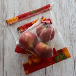 NoWaste bevásárlózsák,tüll zsák, öko zsák, zöldséghez, gyümölcshöz és pékáruhoz piros alapon narancsos vászonból, NoWaste, Bevásárló zsákok, zacskók , Textilek, Varrás, Ekrü színű tüll anyagból készítettem a zsákokat, vászonanyaggal kombinálva.Tetején szalaggal összehú..., Meska