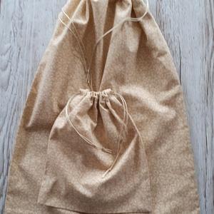 NoWaste bevásárló zsák,drapp apró virágmintás vászonból 2 db-os szett (szivecskemania) - Meska.hu
