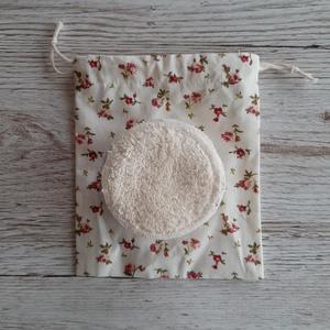 NoWaste sminklemosó korong,10 db-os, ajándék zsákkal, ekrü alapon virágmintás pamutvászonból, ekrü frottirból (szivecskemania) - Meska.hu