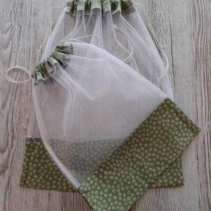 NoWaste bevásárlózsák,tüll zsák, öko zsák, zöldséghez, gyümölcshöz és pékáruhoz, NoWaste, Bevásárló zsákok, zacskók , Textilek, Varrás, Tüll anyagból készítettem a zsákokat,tetején szalaggal összehúzható.\n2db van egy csomagban 1 nagy és..., Meska