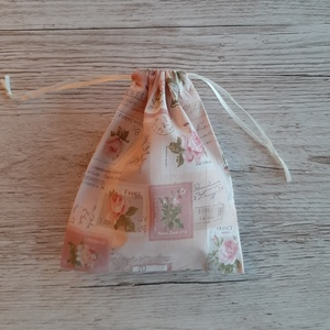 NoWaste sminklemosó korong,10 db-os, ajándék zsákkal, rózsaszín bélyegmintás pamutvászonból  (szivecskemania) - Meska.hu