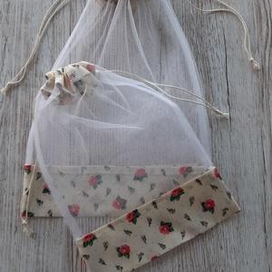 NoWaste bevásárlózsák,tüll zsák, öko zsák, zöldséghez, gyümölcshöz és pékáruhoz, NoWaste, Bevásárló zsákok, zacskók , Textilek, Varrás, Tüll anyagból készítettem a zsákokat,tetején szalaggal összehúzható.\n2db van egy csomagban 1 közepes..., Meska