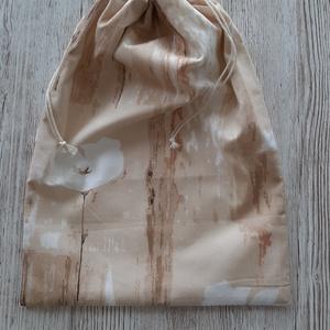 NoWaste kenyeres zsák,drapp faerezetes és virágos pamutvászonból,  PUL béléssel (szivecskemania) - Meska.hu