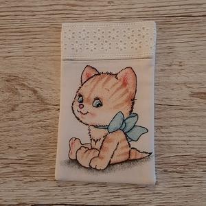 Papírzsebkendő tartó,fehér alapon cicás vászonból madérával díszitve (szivecskemania) - Meska.hu