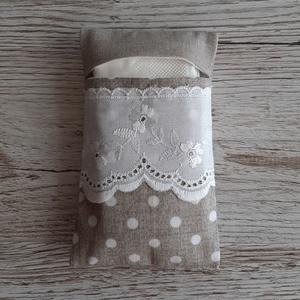 Papírzsebkendő tartó,natur és natur pöttyös vászonból madérával díszitve, NoWaste, Textilek, Textil tároló, Táska, Divat & Szépség, Táska, Pénztárca, tok, tárca, Zsebkendőtartó, Varrás, Papírzsebkendő tartót készítettem, pamutvászon anyagból.\nMadérával  díszítettem.Kb.10 db zsebkendő t..., Meska