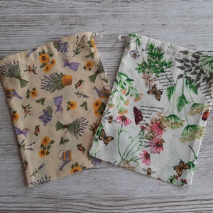 NoWaste textilzsák, gyógynövény és fűszernövény szárítására,tárolására,gyógynövényes vászonból vászonból, Zöldség/Gyümölcs zsák, Bevásárlás & Shopper táska, Táska & Tok, Varrás, Vékony vászonból készítettem a zsákokat,tetején szalaggal összehúzható.\n2 db van egy csomagban.\nMére..., Meska