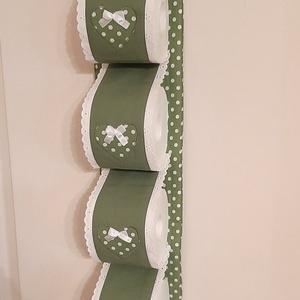 Wc-papír tároló,fűzöld vászonból, fűzöld-fehér pöttyös szivekkel, vintage  stílusban (szivecskemania) - Meska.hu