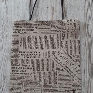 Bevásárló táska,szatyor, vállra akasztható,bézs alapon barna írásos vászonból, NoWaste, Táska & Tok, Bevásárlás & Shopper táska, Shopper, textiltáska, szatyor, Varrás,  Vastagabb vászonanyagból készült bevásárló táska.Hosszabb füllel készült,így vállon is hordható./5..., Meska