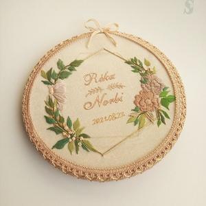Esküvői Ráma, Esküvő, Hímzés, Kézzel hímzett, egyéni esküvői ráma. \nA képen látható ráma külső mérete 21 cm.\nSzínei: natúr, naranc..., Meska