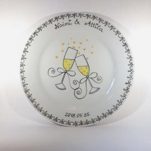 Évforduló emléktányér, Otthon & lakás, Esküvő, Konyhafelszerelés, Bögre, csésze, Nászajándék, Festett tárgyak, A tányért megrendelés alapján készítem el az általad megadott névvel és dátummal.  A tányér anyaga ..., Meska
