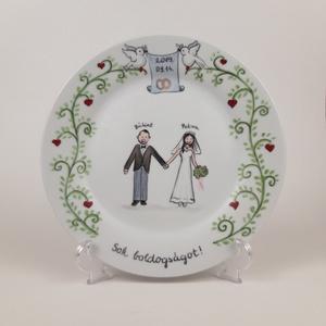 Esküvői emléktányér, Otthon & lakás, Konyhafelszerelés, Bögre, csésze, Esküvő, Nászajándék, Festett tárgyak, A tányért megrendelés alapján készítem el az általad megadott névvel és dátummal az ifjú pár leírása..., Meska