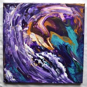 """Lila csoda egyedi absztrakt akrilfestmény, folyatásos fluid pouring technika, palettakés, ujjfestés; modern festmény, Otthon & lakás, Képzőművészet, Festmény, Akril, Festészet, \""""Lila csoda\"""" című modern akrilfestmény, különleges vegyes technikával, folyatásos festéssel, festőké..., Meska"""