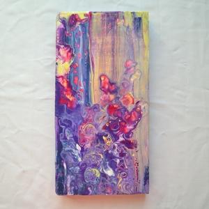 """Korallok absztrakt festmény fára, swipe pouring, straw pouring, modern festmény, Otthon & lakás, Képzőművészet, Festmény, Akril, Festészet, \""""Korallok\"""" című modern akrilfestmény, különleges vegyes technikával, folyatásos festéssel, festőkéss..., Meska"""