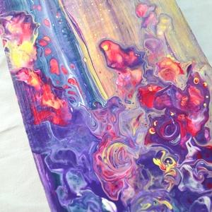 Korallok absztrakt festmény fára, swipe pouring, straw pouring, modern festmény (szjdesign) - Meska.hu