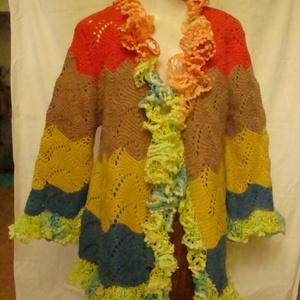 Akció! Kézimunka boltom felszámolás alatt!  bevállalós kardigán, kabátka, Táska, Divat & Szépség, Ruha, divat, Női ruha, Kabát, KIÁRUSÍTOK!!! Pamut fonalból készült ez a bevállalós kabátka sálfonallal díszítve. Hossza 60 cm,  mé..., Meska