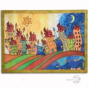 Közepes méretű Falikép, festmény - Girbe-gurba házak, színes, vidám, gyerekszoba, nappali, iroda, kézzel festett, Otthon & Lakás, Dekoráció, Kép & Falikép, Selyemfestés, Színes, vidám gyerekkép fiúknak, lányoknak, nem csak gyerekeknek!\nKözepes méretű falikép!\n\nMérete: 7..., Meska