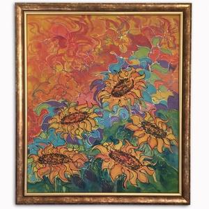 Közepes méretű selyemfestmény, keretezett - Napraforgók, kézzel festett, Otthon & Lakás, Dekoráció, Kép & Falikép, Selyemfestés, Napraforgók! A nyár színeiben tündöklő, vidám, egyedi selyemfestmény, gyönyörű kerettel!\nKözepes mér..., Meska