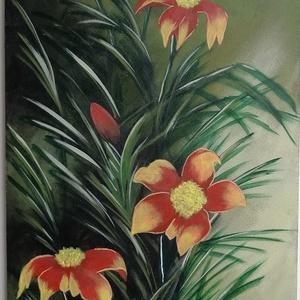 Virág csendélet - akril, Művészet, Festmény, Akril, Festészet, Akrillal készült gyönyörű virág csendélet. Farost lemezre készült, lakkozva. További utómunkát és ke..., Meska