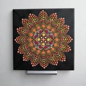Tavasz - mandala, Otthon & Lakás, Dekoráció, Mandala, Festészet, Pontozott mandala, melynek címe a Tavasz. Kellemes, meleg színvilágú kép. MDF lapra készült, lakkozo..., Meska