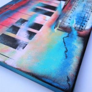 Akrilfestmény. Címe: Piano, Dekoráció, Képzőművészet, Kép, Festmény, Festészet, Piano című akril, vászon, 30x60 cm-es festményemet ajánlom szeretettel.  A zene és a hangszerek sze..., Meska