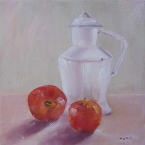 Almákkal, Olajfestmény, Festmény, Művészet, Festészet, Egy kis vidéki hangulat\n\nAlmákkal című festményemet szeretettel ajánlom.\nVászon, olaj, 30*30 cm\n\nMos..., Meska