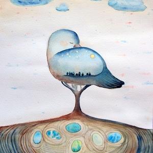 Madár álom, Képzőművészet, Otthon & lakás, Festmény, Akvarell, Lakberendezés, Festészet, Lepd meg magad vagy szerettedet ezzel az eredeti akvarell festményemről kis példányszámban készült, ..., Meska