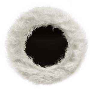 Kerek tükör Szőrmók keretben / fehér, Otthon & lakás, Lakberendezés, Képkeret, tükör, Famegmunkálás, Mindenmás, Kör alakú tükör, 45 cm átmérőjű magas minőségű műszőrmével borított keretben.\nA keret vastagsága 4 c..., Meska