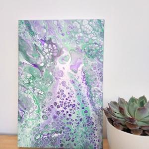 Fluid art festmény, Otthon & lakás, Képzőművészet, Festmény, Akril, Festett tárgyak, Ezt a festményt egy kis kedves kőrózsa színei inspirálták. Keretre feszített vászonra készült, így k..., Meska