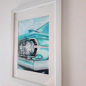 Türkiz Vintage autó akvarell festmény keretben, Otthon & lakás, Képzőművészet, Festmény, Akvarell, Festészet, Türkiz Vintage autó akvarell festmény keretben. Kézzel készült, egyedi darab, nem print. Tökéletes a..., Meska