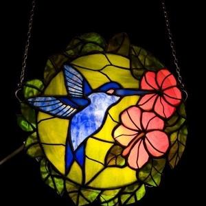 Kék kolibris tiffany ablakdísz, Otthon & Lakás, Dekoráció, Díszüveg, Mindenmás, Üvegművészet, Meska