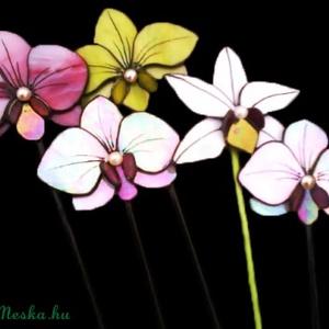 Tiffany Orchidea virágdísz Bálint napra 5 db, Otthon & Lakás, Dekoráció, Csokor & Virágdísz, Mindenmás, Üvegművészet, (1 db is rendelhető, nemcsak a garnitúra: 4000t/db) Nagyon szép élethű orchideák üvegpálcán különböz..., Meska