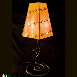 Karneol-hegyikristály tiffany lámpa, egyedi tervezésű karneol-hegyikristály berakású tiffany asztali lámpa narancs színben, de bármilyen ..., Meska