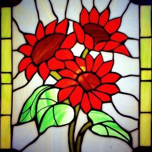 Nyári Napvirágok világító tiffany falikép, Otthon & Lakás, Dekoráció, Kép & Falikép, Mindenmás, Üvegművészet, Napsütötte meleg színkombináció egyenesen az aranyszerűről. A kép világít is, de világítás nélkül is..., Meska