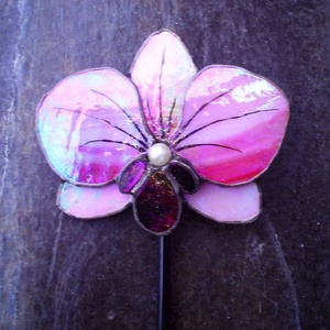 Tiffany Orchidea virágdísz Bálint napra, Otthon & Lakás, Dekoráció, Mindenmás, Üvegművészet,  Nagyon szép élethű orchidea Rózsaszín világos és sötét rózsaszín színben is , illetve bármilyen szí..., Meska