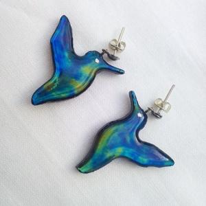 Szivárványos kék kolibri pár fülbevaló ezüst alkatrésszel, Ékszer, Fülbevaló, Lógó fülbevaló, Üvegművészet, Mindenmás, Meska