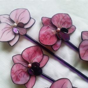 Tiffany Orchidea csokor 5 db, Otthon & Lakás, Dekoráció, Mindenmás, Üvegművészet, Meska