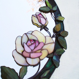 3D Tearózsás virágos tiffany tükör, volume II., Otthon & Lakás, Dekoráció, Tükör, Mindenmás, Üvegművészet, Ez bizony egy komoly ajándék lesz annak akinek lesz, mert nagyon dekoratív és elbűvölően nőies díszt..., Meska