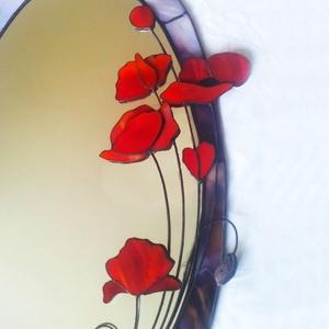 3D pipacsos tükör Tiffany üvegből, Otthon & Lakás, Dekoráció, Tükör, Mindenmás, Üvegművészet, Meska
