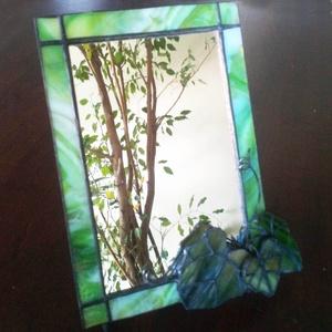 Kis-asztali borostyános tükör, Otthon & Lakás, Dekoráció, Tükör, Mindenmás, Üvegművészet, Meska