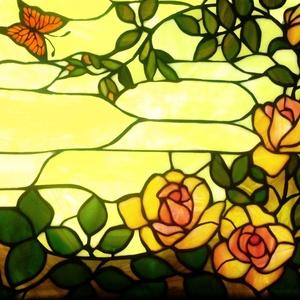 Rózsáskert világító tiffany-falikép - otthon & lakás - dekoráció - kép & falikép - Meska.hu