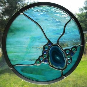 Kék Achátos mandala ablakdísz, Otthon & Lakás, Dekoráció, Ablakdísz, Üvegművészet, Meska